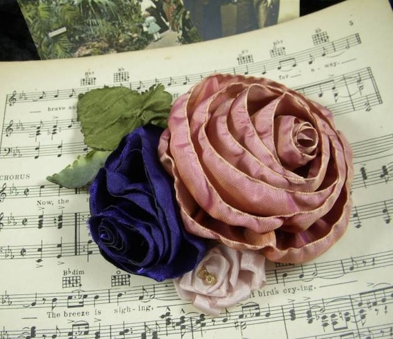 3 Pink and Purple Roses - Handmade Ribbon & Fabric Flowers - Ombre, Brooch, Pin