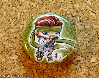 Chibi Solid Snake Metal Gear Solid Pin-back Button