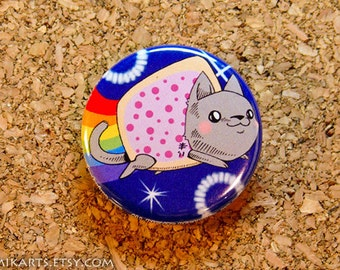 Poptart Nyan Cat Pin-back Button (small)