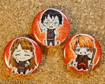 Chibi Harry Potter Hermione Granger Ron Weasley Pin-back Button Set