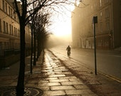 Lonely Bicyclist Backlit in Edinburgh Empty Street, Fine Art Print, Photos for Interior Design, Bicycle Retro 10x10,  by ARTindividual, Etsy