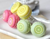 Earrings - French macaroons in citrus fruits