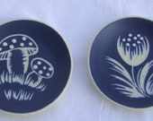 SALE - 50 % OFF - Vintage blue mat mini plates from Danish pottery SØHOLM