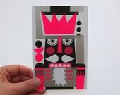 Nutcracker Mini Print, neon pink, original screenprint, 10 x 15 cm