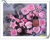 Mixture of Baby Pink Flat Back Baby Cabochons - 17 pcs (S7)