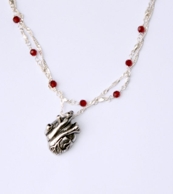 Anatomical Heart Necklace with Garnet Crystal chain
