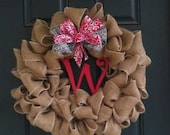 Burlap Wreath with Personalized Initial