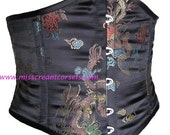 "27"" Black Satin - Chinese Dragon - Steel Boned Underbust Corset - Waspie."