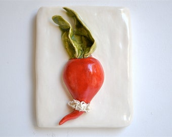 Vegetable Tile Hand-Sculpted Radish