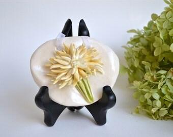 Ceramic Chrysanthemum Tile Plaque, Buttercup Yellow on White, Ribbon