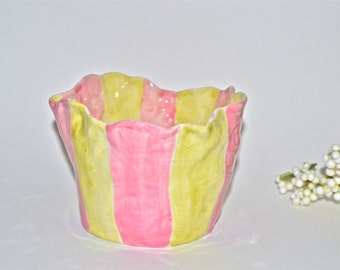 Funky and Whimsical Pink Buttercup Yellow Bowl
