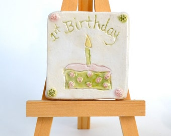 Baby Girl's 1st Birthday  -  2 x 2 Ceramic Tile With Easel