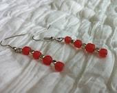SALE - Coral & Silver Earrings