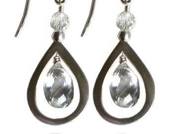 Kate - Fine Silver & Crystal Quartz Earrings