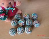 10pcs rainbow color  crochet beads 18mm round
