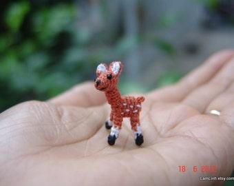 handmade dollhouse miniature - 0.8 inch fawn - tiny crochet amigurumi animal