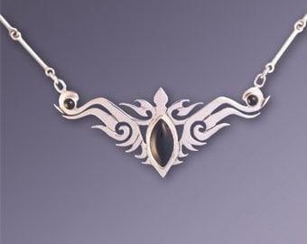 Tribal-Celtic Necklace with Onyx - Feminine Empowerment - SALE