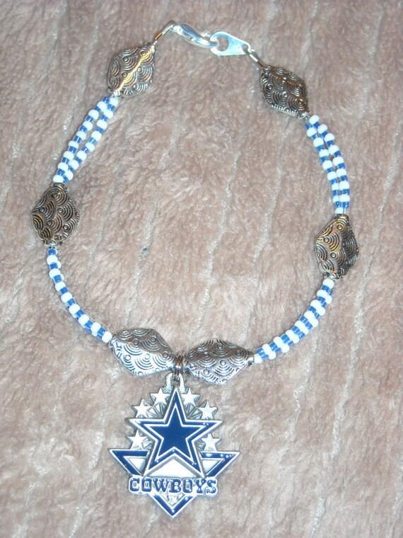 nfl dallas cowboys japanese glass bead charm bracelet. Black Bedroom Furniture Sets. Home Design Ideas