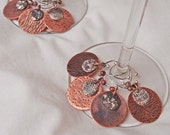 Wine Charms Copper and Fine Silver Double Disc Set of Eight Handmade