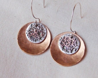 Hammered Bronze and Fine Silver Double Disc Earrings Handmade