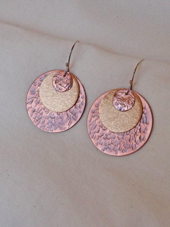 Hammer Textured Earrings Copper and Bronze Triple Disc Handmade