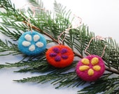 Felted Old Fashioned Holiday Ornaments - colorful round felted small ornaments