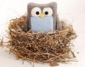 Needle Felted Owl Mini - grey ice blue woodland nature eco friendly decor
