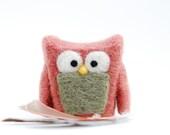 Needle Felted Owl pink rose eco friend whimsical decor