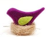 Needle Felted Bird, purple phlox plum decor ecofriendly  under 20 unisex nature