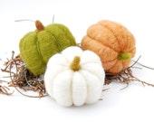 Needle Felted Pumpkins orange green white autumn fall thanksgiving halloween harvest eco friendly decor