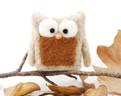 Needle Felted Owl fall autumn wool brown beige eco friendly decor