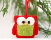Owl Ornament Needle Felted, red green tree decor holidays gift