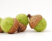 Felted Acorns, lime green citrus chartreuse  decor ecofriendly moss gift guide under 20 unisex