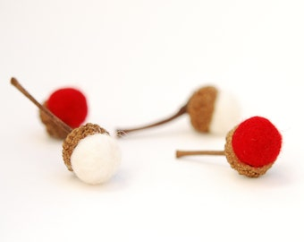 Felted Acorns red white christmas holiday decor wrapping