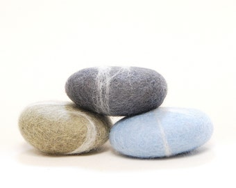 Felted Stones - ice blue grey gray rocks nature eco friendly
