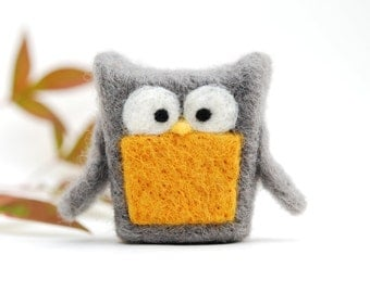 Needle Felted Owl, grey mustard yellow wool home whimsical decor play ecofriendly