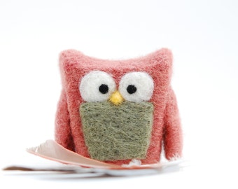 Needle Felted Owl pink rose eco friend whimsical decor