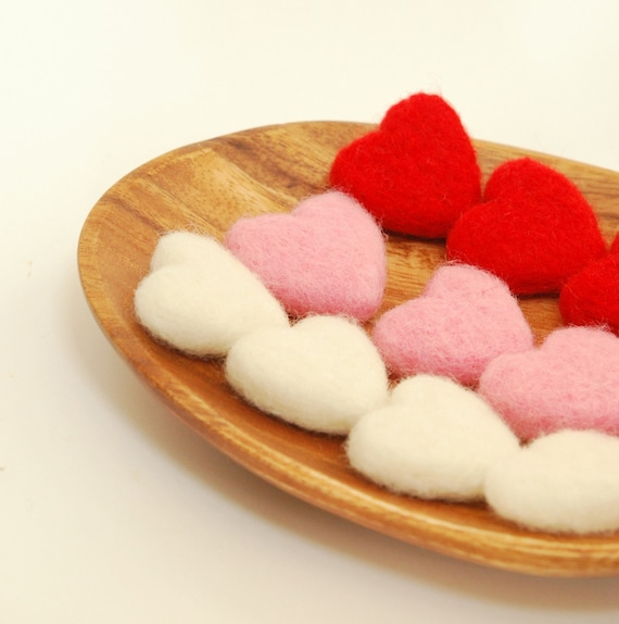 Love Tokens - 6 Large Felted Hearts valentines sweetheart red white pink