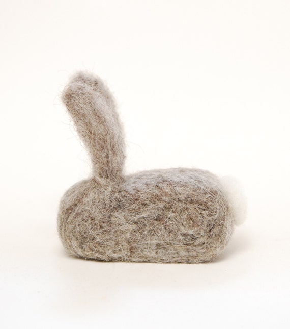 Needle Felted Rabbit grey natural easter spring decor eco friendly