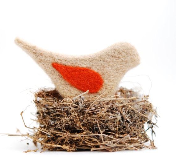 Needle Felted Bird, tan brown oatmeal beige rust orange whimsical ecofriendly decor