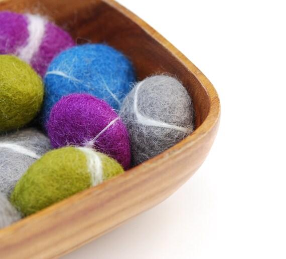 Felted Stones, 4 Jewel color,  Purple Green Gray Blue rocks ecofriendly decor colorful