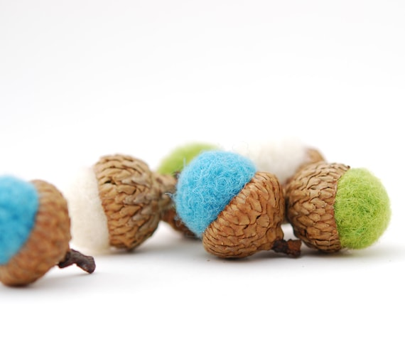 Felted Acorns,  aqua green white ocean beach sea autumn fall thanksgiving nature woodland decor  ecofriendly