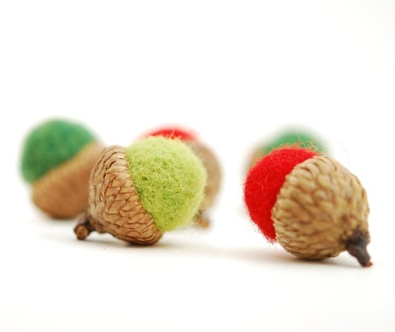 Felted Acorns, green red christmas holiday decor ecofriendly small