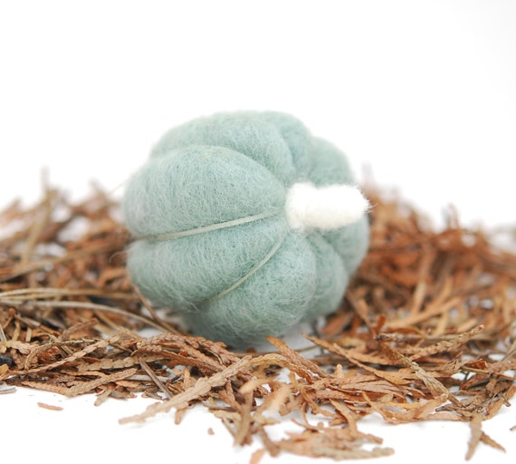 Needle Felted Pumpkin mint sage green wool autumn, fall, thanksgiving, halloween, harvest decor eco friendly