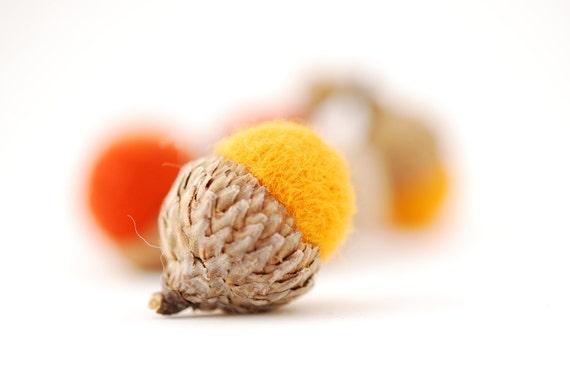 Felted Acorns, orange yellow mango tan autumn fall thanksgiving halloween harvest decor ecofriendly