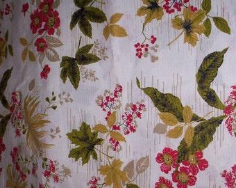 Vintage 60's Olive Green, Gold and Red Fall Foliage Barkcloth Fabric - 15 Yards - uncut - Sewing - Fabric by Yard - Bark Cloth - Yardage