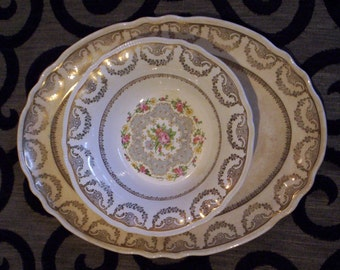 "Vintage ""Montcalm"" Sovereign Potters Earthenware Serving Platter and Bowl - Dining - Entertaining - Canada - China Pattern"