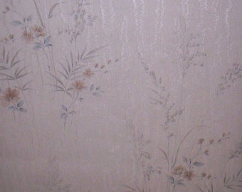 Vintage 80's Silver Wood Grain and Tan Grasses Wallpaper Roll - 3/4 roll - Home Decor - Wall Paper