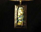Golden Rainbow Dichroic Fused Glass Pendant