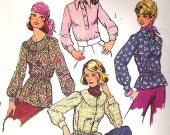 Simplicity 5860 Vintage 70s Blouse Shirt Tunic Sewing Pattern B34